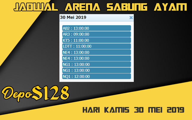 Jadwal Arena Sabung Ayam S128 Live Kamis 30 Mei 2019