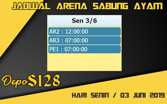 Jadwal Arena Sabung Ayam S128 Live Senin 03 Juni 2019