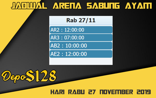 Jadwal Arena Sabung Ayam S128 Live Rabu 27 November 2019
