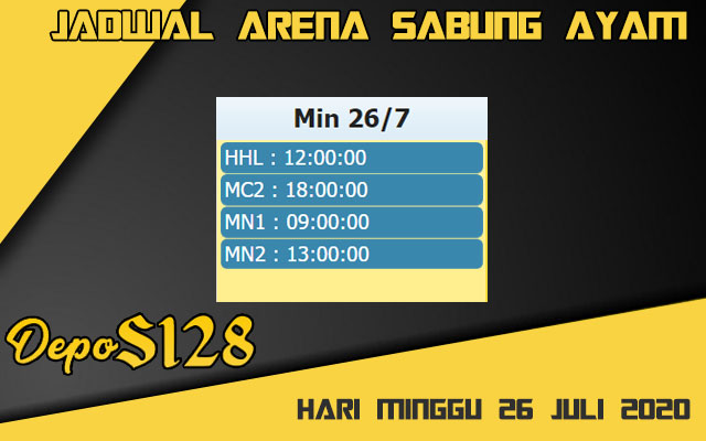 Jadwal Arena S128 Sabung Ayam Live Minggu 26 Juli 2020