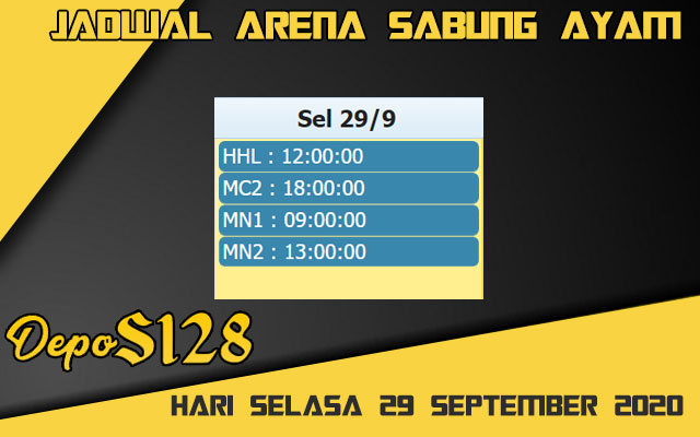 Jadwal Arena S128 Sabung Ayam Online Selasa 29 September 2020