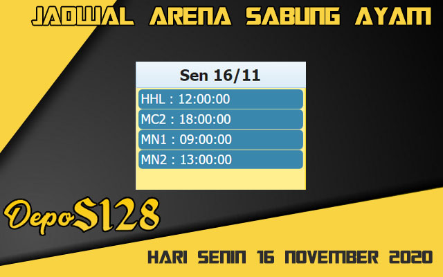 Jadwal Arena S128 Sabung Ayam Online Senin 16 November 2020